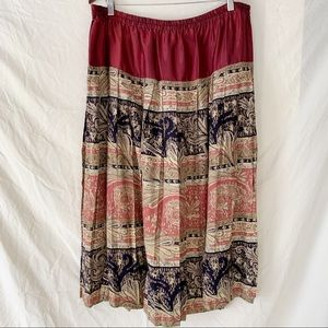 Vintage Red Paisley Pleated Maxi Skirt 1X/2X